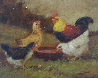 J D Sorver 1902 Rooster & Chickens, Original Oil on Board, Listed Artist