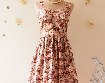 Vintage Floral Tea Dress Light Gray Dark Maroon Floral Bridesmaid Dress Party Dress French Toile Floral Dress Summer Dress -Size S