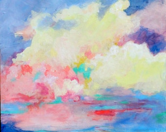 "Acrylic Painting, Original Sky, Cloud Formation, Colorful, Yellow, Blue, ""Clouds Moving In"""