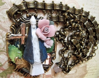 Antique Ceramic Nun With Ceramic Flowers, Leaves, Upcycled Cross & Vintage Crystal Cross, Fancy Book Chain