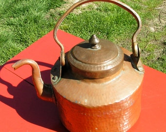 Vintage Hammered COPPER Water Kettle  -  Teapot - Very OLD - Heavy Duty Construction - Rustic Decor