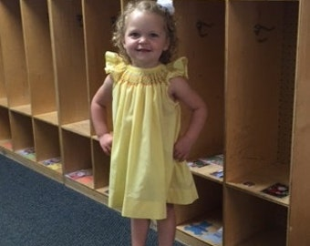 Girl's Hand Smocked Bishop Dress in Yellow