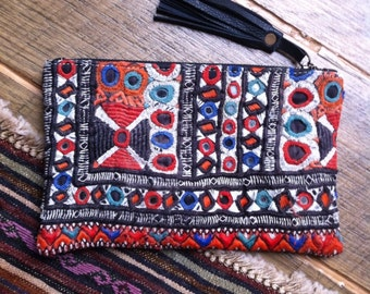 Vintage Handmade Textile/Leather Banjara Zip Purse
