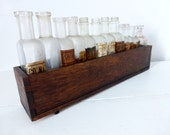 Vintage French Set Of Pharmacy Bottles With Wooden Case