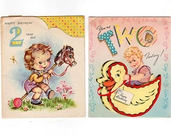 Two Year Old Birthday Cards, 2nd Birthday Cards, Lot of 2, Duck Rocking Toy, Stick Horse, Baby Birthday Card, Doubl Glo, 1950s Kids Cards