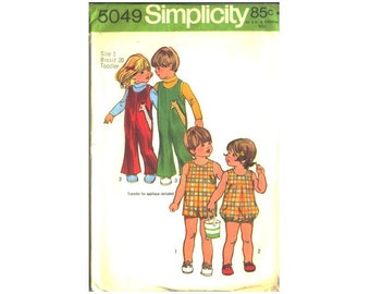 Simplicity Sewing Pattern 5049 Toddler Jumpsuit Pattern, Kids Bubblesuit, Childrens Overalls Size 1, Breast 20, Includes Transfer Pattern