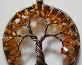 Topaz Swarovski Crystal Tree of Life set in Antique Copper, Wire Wrapped Antiqued Copper Crystal Tree of Life