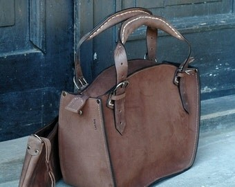 Handmade leather woman handbag with clutch Ladybuq brown