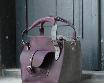 Leather Shoulder Bag with Clutch Set handmade bag Ladybuq