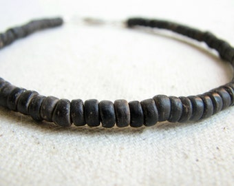 Coconut Bead Anklet, Sizes 8 to 11 inches, Dark Brown Coconut Jewelry, Eco Friendly, Tropical Beach Jewelry