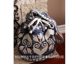 Blossom - Shoulder Drawstring Bag  PDF Crochet Pattern