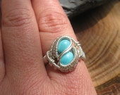 Wire Wrapped Ring, Turquoise Ring, Size 8 Turquoise Ring, Wire Wrap Jewelry, Heady Wire Wrap, Crystal Wrap