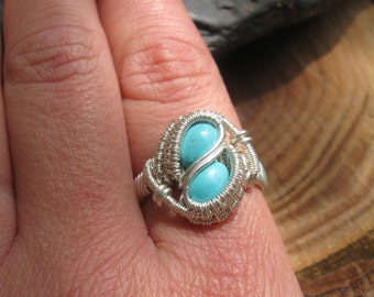 Wire Wrapped Ring - Turquoise Ring - Size 8 Ring - Wrapped Turquoise Ring - Wire Wrap Jewelry - Heady Wire Wrap - Crystal Wrap