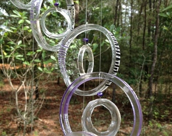 FR/SHIPING Glass Wind Chimes from RECYCLED bottles, eco friendly ,green, wind chime, garden decor, wind chimes, musical, home decor, mobile