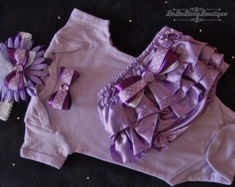NEWBORN Baby Girl Take Home Outfit  purple lavender satin ruffled bloomers bows rhinestones headband