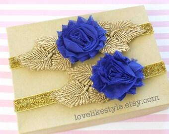 Royal Blue Shabby Chic Flower with Gold Leaves Garter Set,Toss Garter , Keepsake Garter / GT-25