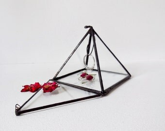 Glass Display Box. Black Finish. Small Jewelry Box. Small Pyramid, Ring Bearer Wedding Ring Box.