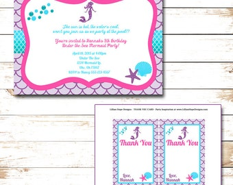 Under The Sea Birthday Party - Mermaid Invitation - Girls Birthday Party - PRINTABLE Invitation and Thank You Card