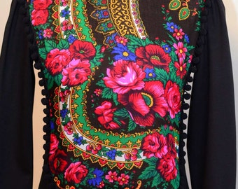 Urban Dress , Midi Black jersey Cotton Dress with Folk Ethnic front panel , Boho Dress , Bohemian Dress , Etno inspired Dress