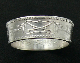 Rare Silver Coin Ring 1955 (1374) Saudi Arabia 1/2 Riyal, Ring Size 8 1/2 and Double Sided