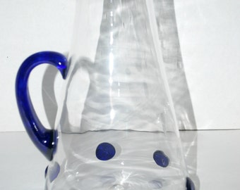 half price sale Vintage glass pitcher cobalt handle   blown glass pitcher   cobalt handle   cobalt glass