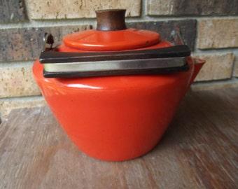 Atomic Enamel Burnt Orange Kettle 1950's
