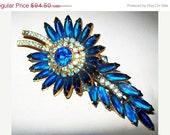 "CIJ Sale Juliana Brooch Pin Confirmed D&E Sapphire Ice Blue Rhinestones Gold Metal Floral Huge 4"" Vintage"
