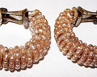 "Miriam Haskell Earrings Gold Gilt Seed Beads Pin Wired Signed Pat Pend Clip Ons 1940s-50s 1 1/4"" Vintage"