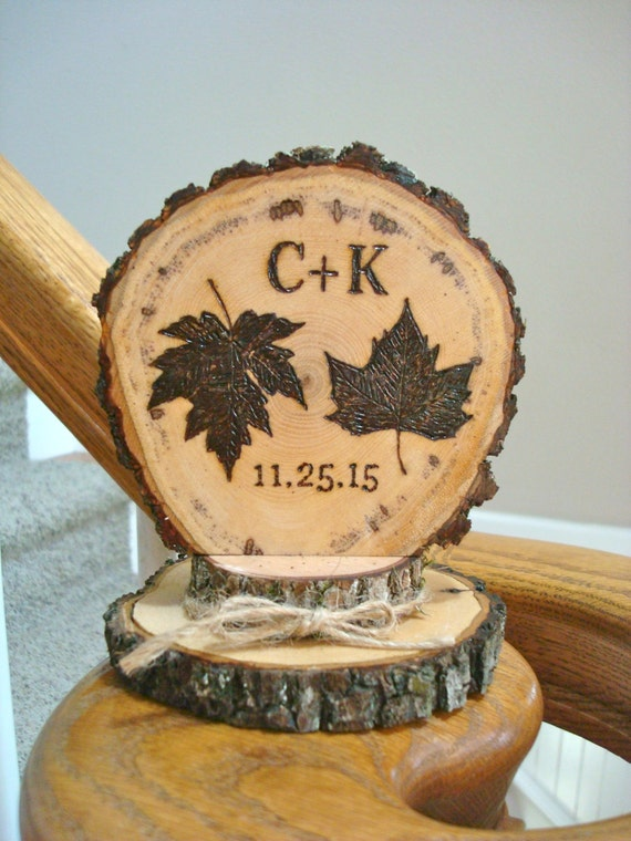 fall wedding cake toppers fall leaves wedding cake topper autumn rustic personalized 14178