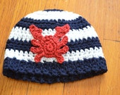 Crocheted Beanie with Crab Applique
