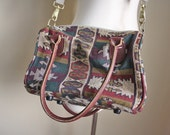 1990s Aztec Print Bag // Southwestern Print Purse Luggage Camera Bag Cross Body