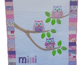 Baby Quilt, Owl Quilt, Personalized Quilt, Crib Bedding, Applique Quilt, Handmade Quilt, MADE TO ORDER