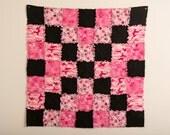 Valentines Day Quilt, Pink, Black Rag Quilt, Child's Quilt, Baby Blanket, Rag Quilt, Cuddle Quilt, Hearts, Pink Camo, Dog Blanket, Dog Quilt