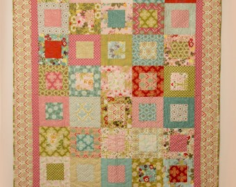Hello Luscious Finished Quilt, Lap Quilt, Moda, Pink, Blue, Green Quilt, Teen Quilt, Birthday Gift, Couch Quilt, Handmade Quilt,Custom Quilt