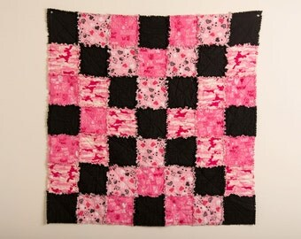 READY TO SHIP, Valentines Day Quilt, Pink, Black Rag Quilt, Child's Quilt, Baby Blanket, Rag Quilt, Cuddle Quilt, Pink Camo, Pet Quilt