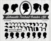 buy 2 get 1 free Silhouette Portrait Creator Kit Clip Art - Custom Cameo Silhouette Clipart - Face Profile Silhouette - commercial use ok