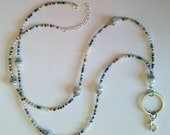 ID Badge Holder HANDMADE Name Tag Beaded Lanyard Fashion Necklace, Silver & Colorful Glass with Pearls