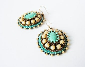 Turquoise Beige Earrings Embroidery Earrings Beadwork Earrings Bead embroidered jewelry Tribal Ethnic MADE TO ORDER