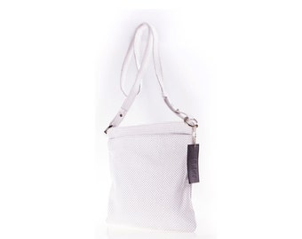 White perforated leather shoulder bag - genuine white leather - shoulder bag - white shoulder bag - summer bag - white crossbody bag