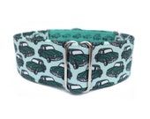 Retro Cars Dog Collar - 1 inch or 1.5 inch Martingale Collar or Buckle Collar in Blue and Green Old Cars, Muscle Cars, Male Dog Collar