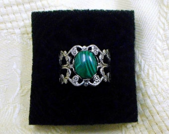 Malachite ring victorian gothic steampunk green natural crystal healing stone jewelry antique silver finish adjustable new age