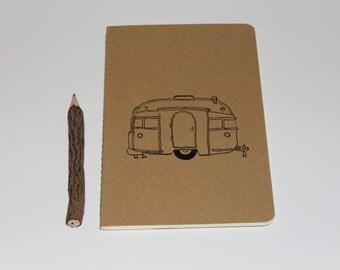 Vintage Retro Camper Trailer Lined Journal