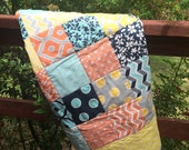 Baby Quilt Modern Yellow Gray Teal Blue Free Shipping