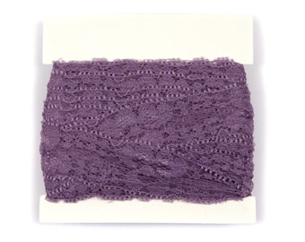 Stretch Lace for baby headbands - one inch wide - 5 or 10 yards - Dark Lavender
