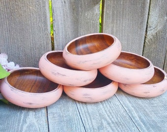 LIGHT PINK Shabby Chic Bowl Set, Upcycled Salad/Serving Bowls