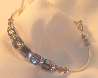 """Bracelet/6mm multi colored crystal cubes/silver tubes/sterling heart toggle clasp 7""""/ Free USA shipping only"""