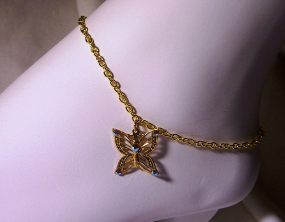 """Anklet/gold plated butterfly/crystals on wing/gold chain 9 """"  FREE USA shipping only"""