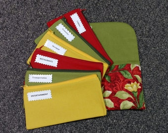 Cash Envelope Wallet, Fabric Cash Envelopes - Bird on Red (It can be used with the Dave Ramsey system)