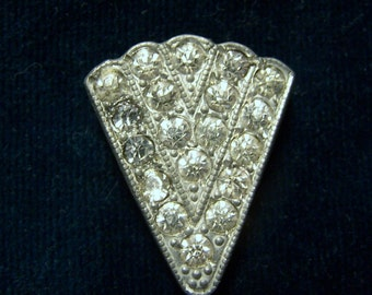 1920s ART DECO CLIP -  Set with 19 Clear Glass Rhinestones