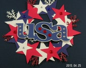 Wreath Patriotic Embellishment, 4th of July Embellishemnt, Memorial Day, Military, Card Topper